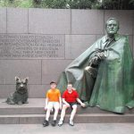 The kids with FDR and his dog